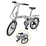 """Ridgeyard - Bicicleta de 20""""y 6velocidades color plata plegable regulable..."""
