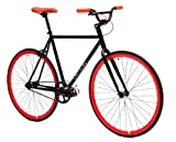 Critical Cycles Fixed Gear Single Speed Fixie Urban Road Bike (Black/Red, Small)...